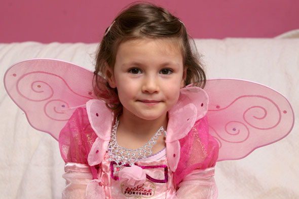 Girl in pink princess outfit