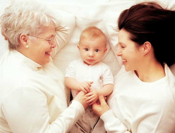 Grandmother, baby and mother