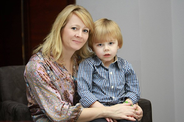 Fiona O'Shaugnessy and son Daniel after his liver transplant