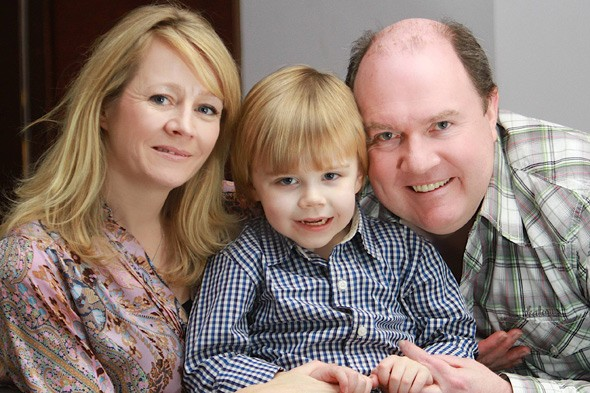 Devoted dad: David O'Shaughnessy donated liver to his baby son David