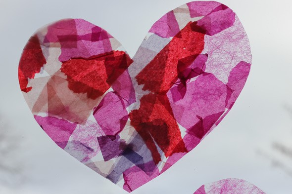 How to make: Valentine's Day stained glass hearts