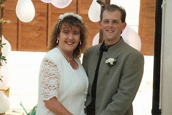 Tracie and Paul Wright on their wedding day