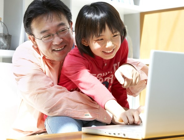 Child learning computer skills
