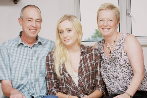 Sian Garnett and her parents, who both survived cancer