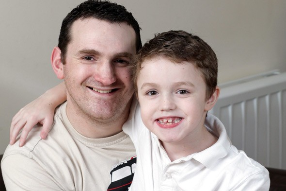 Dominic Stacey and his son Dominic, who has Duchenne's muscular dystrophy