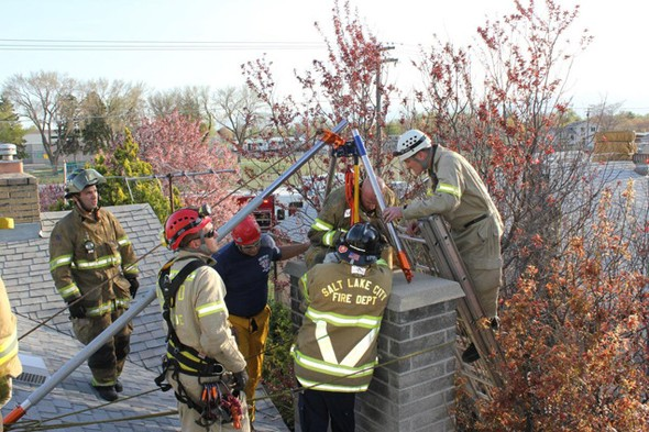 Nine year-old autistic boy's rescue after getting stuck in chimney