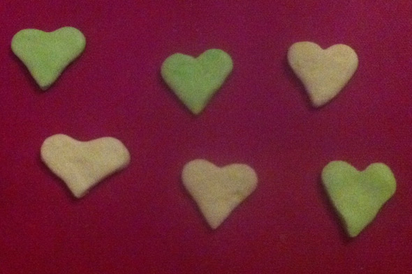 Homemade peppermint hearts