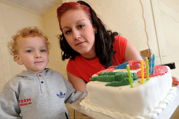 Police called to toddler's birthday party because of candles on a cake: Natasha Bent and her son Oscar