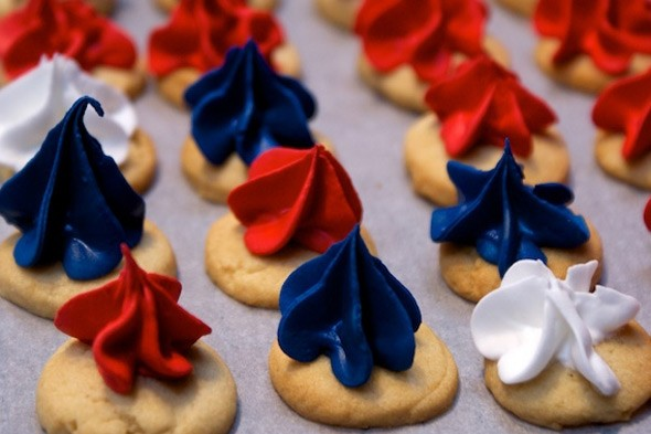 Red, white and blue iced gems