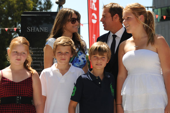 Liz Hurley and Shane Warne with her son Damian and his three children