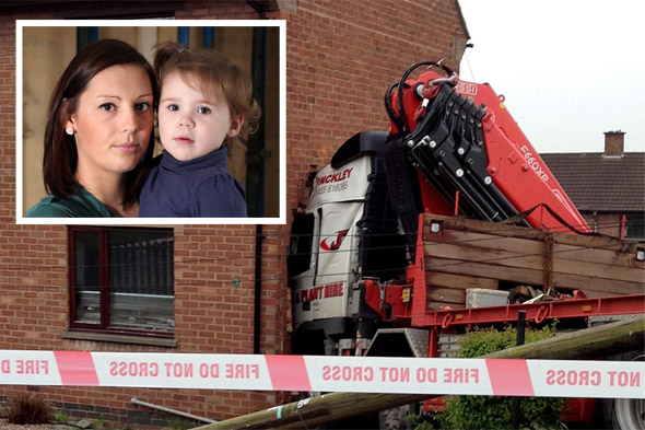 Hero mum saves baby daughter by outrunning 32-tonne lorry heading for her home