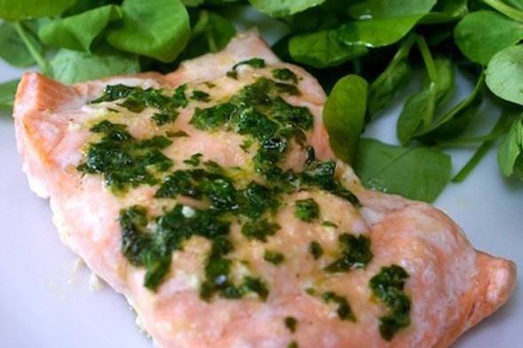 Salmon parcels with lime and coriander