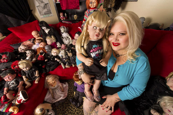 Eccentric mum shows off her creepy collection of blood-stained 'horror' dolls