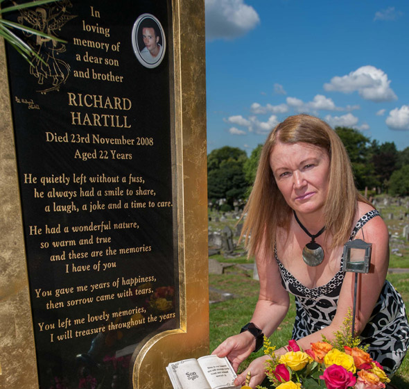 Mum's heartbreak as callous thieves steal keepsakes from her son's grave