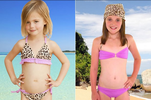 Would you let your daughter wear Liz Hurley's leopard-print bikini? Star accused of sexualising children
