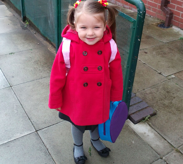 Girl who suffered stroke in the womb starts school after doctors said she would never walk or talk