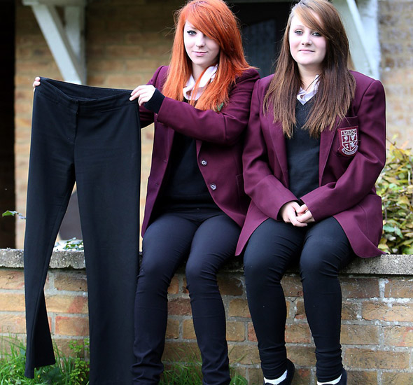 School sends girls home for wearing tight trousers...after already banning skirts!