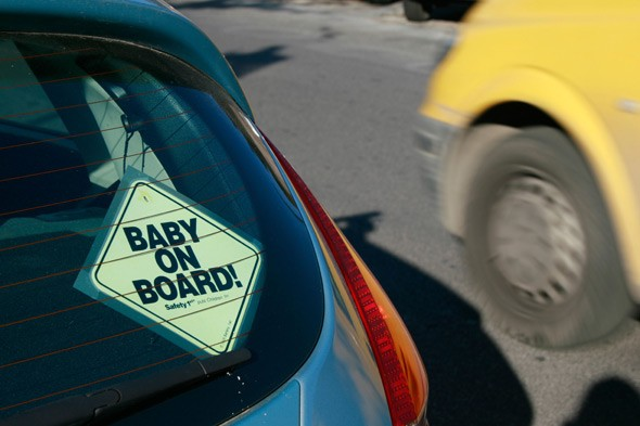 Baby on Board stickers 'cause 2 million accidents a year'