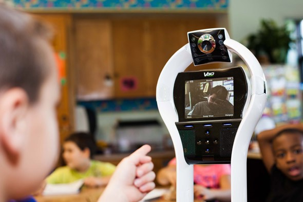 Boy too allergic for school sends a ROBOT in his place!
