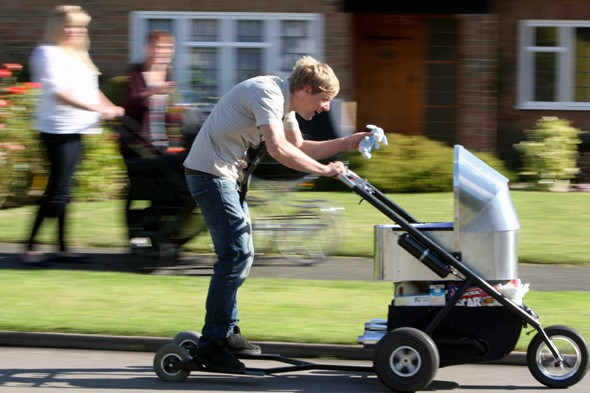 Speed-freak dad invents the world's fastest BABY BUGGY