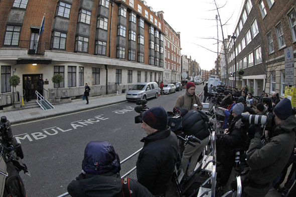 Reporters camped outside the hospital were Kate is being treated