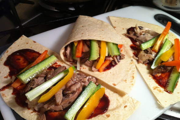 Our House Dad cooks: Crispy Duck Pancakes with Cucumber, Peppers and Hoi Sin Sauce