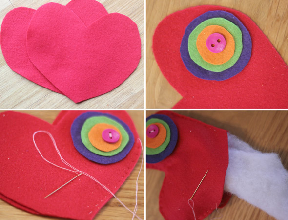 How to make mini heart cushions for Mother's Day