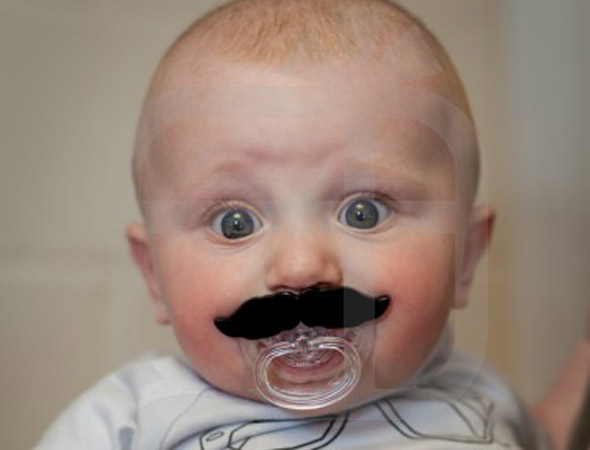 Hil-hair-ious! The must-have moustache accessory for cool babies!