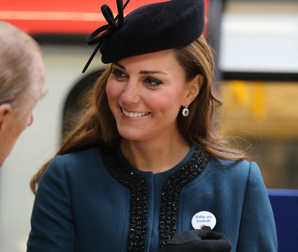 Pregnant Kate Middleton given Baby on Board badge as she takes the tube