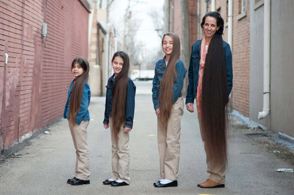 Meet the Rapunzel family: Mum and daughters have combined hair length of four metres!