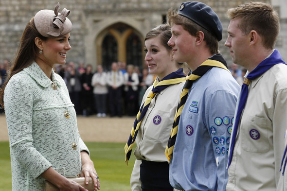 The Duchess of Cambridge looking obviously pregnany