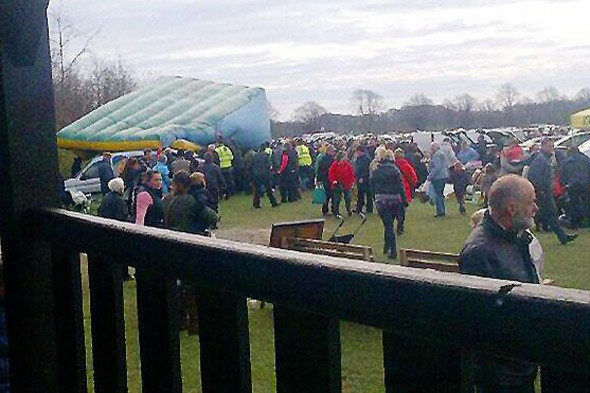 Inflatable slide blows over injuring children and elderly