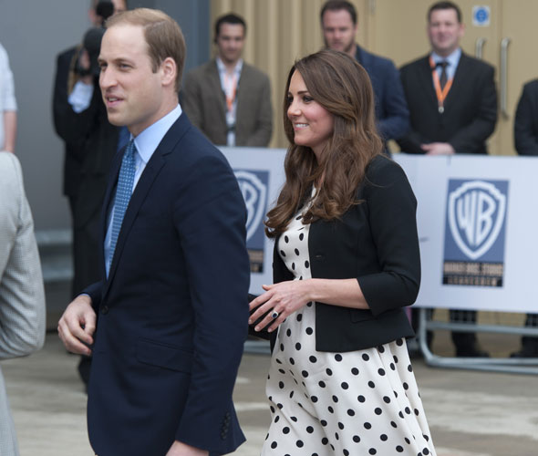 Pregnant Kate Middleton steps out in spots with William and Harry