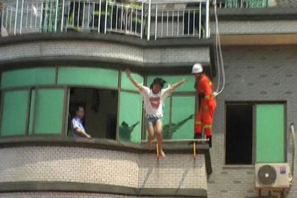 Betrayed teen throws herself from building - and lands on a cushion
