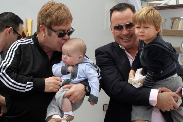 First pictures of Sir Elton John and David Furnish with their two gorgeous sons