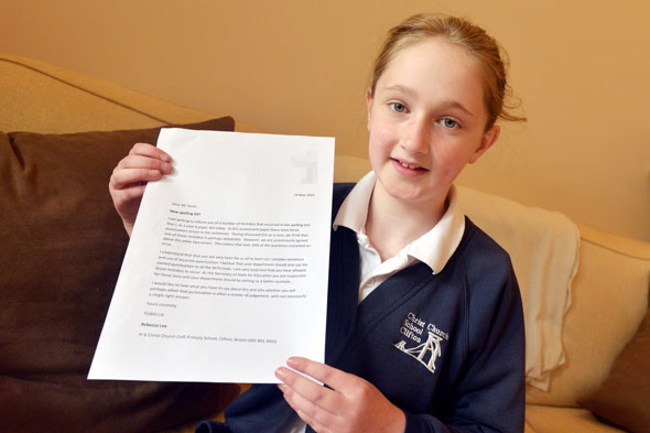 Schoolgirl writes to Michael Gove after spotting errors in SATs paper