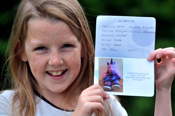 Girl, 9, cruises through customs with a pink UNICORN passport!