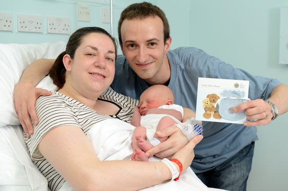 Royal baby born: First baby presented with Royal Mint silver penny for sharing the same birthday as the new Prince