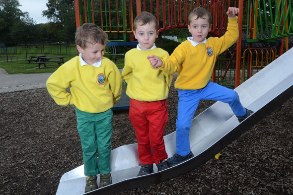 Mum colour-codes her four-year-old triplets
