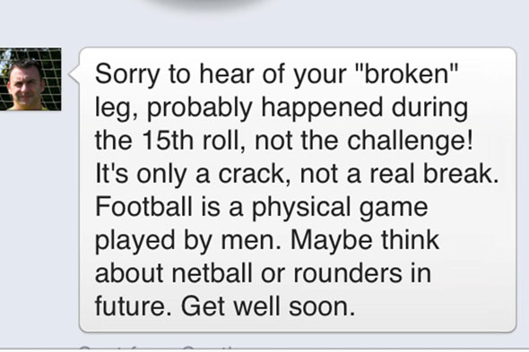 Ref mocked teen on Facebook after he broke his leg playing football