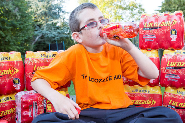 The boy kept alive by four bottles of Lucozade a day