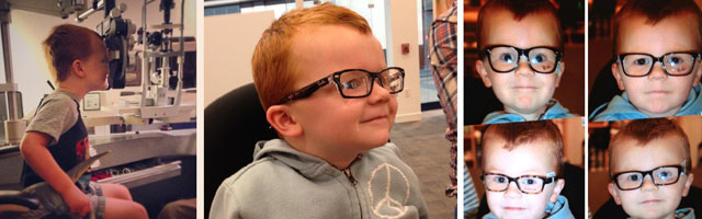 Facebook friends make spectacle of themselves to support four-year-old glasses wearer