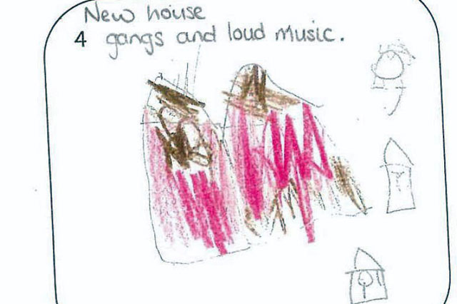 Schoolgirl's drawings of rowdy neighbour help secure her eviction