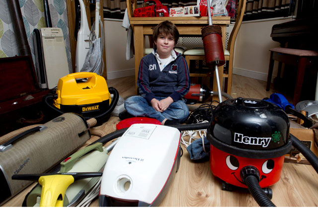 'Stop tidying your room!'  Harry, 9, has collection of 40 vacuum cleaners