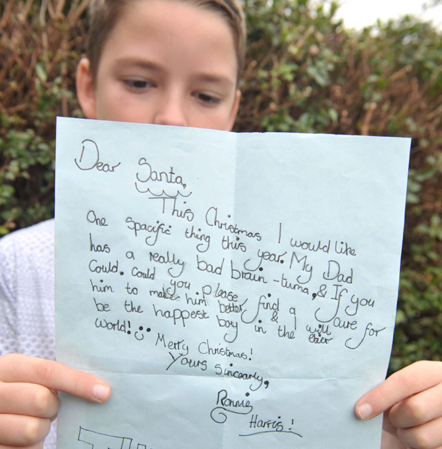 'Dear Santa, please cure my dad's brain tuma,' love Ronnie, 10