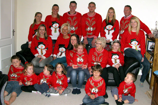 Supergran makes 28 Christmas jumpers for her close-knit family