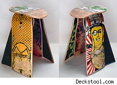 stool made from upcycled skateboard