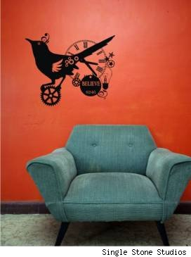 steampunk bird, steampunk wall decal, wall decal, single stone studios