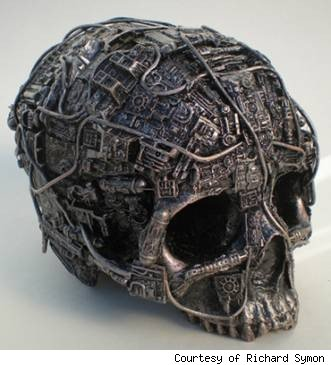 steampunk skull, richard symon, technology skull