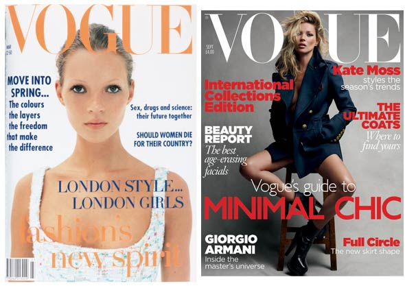Kate Moss's British Vogue March 1993 cover September 2010 cover